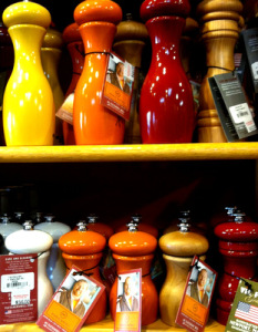 Colorful pepper mills.